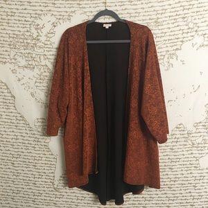 Lularoe Orange Lace Lined Lindsay Kimono